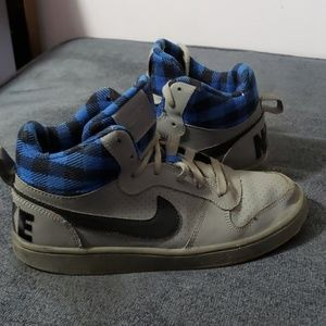 Nike Grey and Blue Plaid Inside